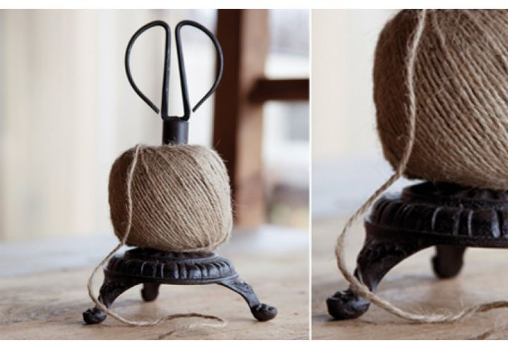 Ball of Bakers Twine on Holder with Rustic Scissors
