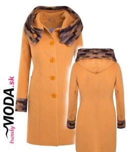 Žltý dámsky zimný kabát s kapucňou - trendymoda.sk