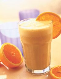 Orange Smoothie - Healthy Recipe    1 navel orange, peeled  1/4 cup fat-free half-and-half or fat-free yogurt  2 tablespoons frozen orange juice concentrate  1/4 teaspoon vanilla extract  4 ice cubes  afternoon snack or post work out