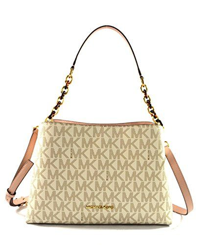 abff5b6f41d4 Michael Kors Portia Large East West MK Signature Satchel Crossbody Bag Purse  Tote Handbag