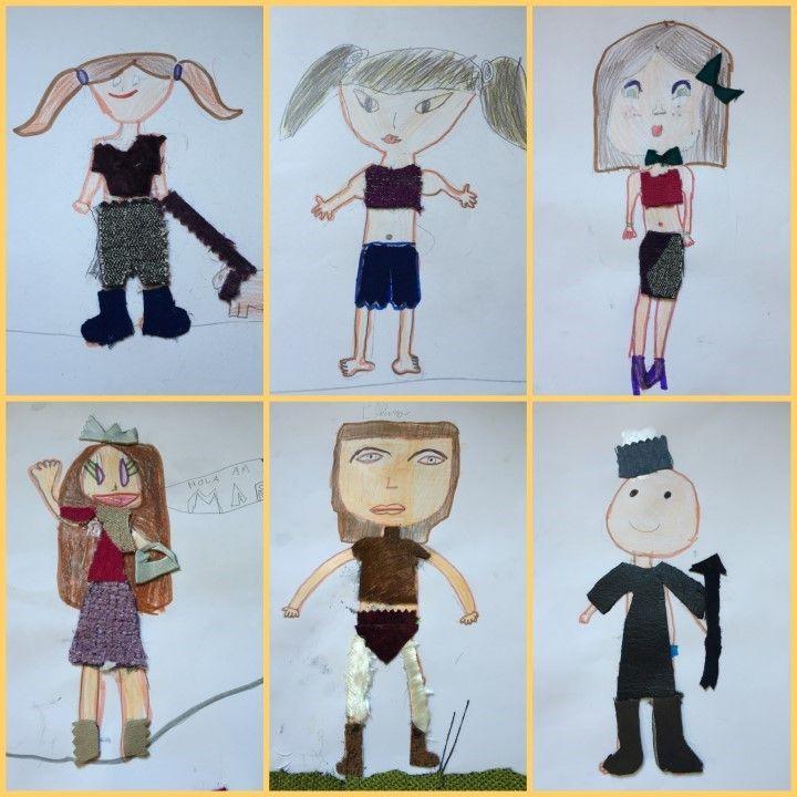 COLLAGE AMB ROBA - Material: paper, colors, tisores, cola, roba - Nivell: 2PRIM CI 2015/16 Escola Pia Balmes