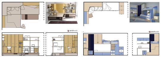 letto singolo 2d - bed drawings - bunk dwg
