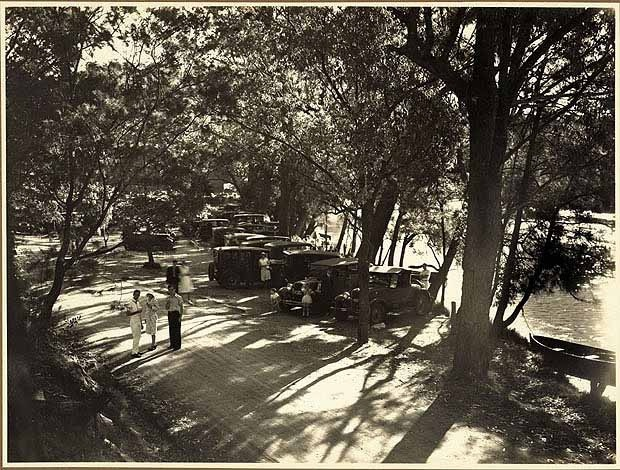 Cars parked on the river bank at Audley, Royal National Park (NSW)