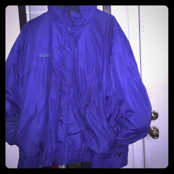 Columbia Coat 100% Nylon/Polyamide Exterior, Lining 100% Nylon Polyamide, Down insulation Duvet Columbia Coat.  Coat is Blue, Inside coat is Greenish/Turquoise, and inside of coat is Purple. NCoat is too big for me . If you like warmth, this coat is for you.  Has zip removable puff jacket and can be worn two ways.   Coat can be cleaned prior to ship if purchased or sent as is..  this coat gotta go!! **OFFERS ARE ACCEPTED** Columbia Jackets & Coats