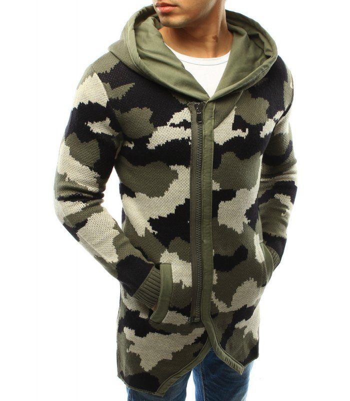 Pánsky sveter s kapucňou woodland camo
