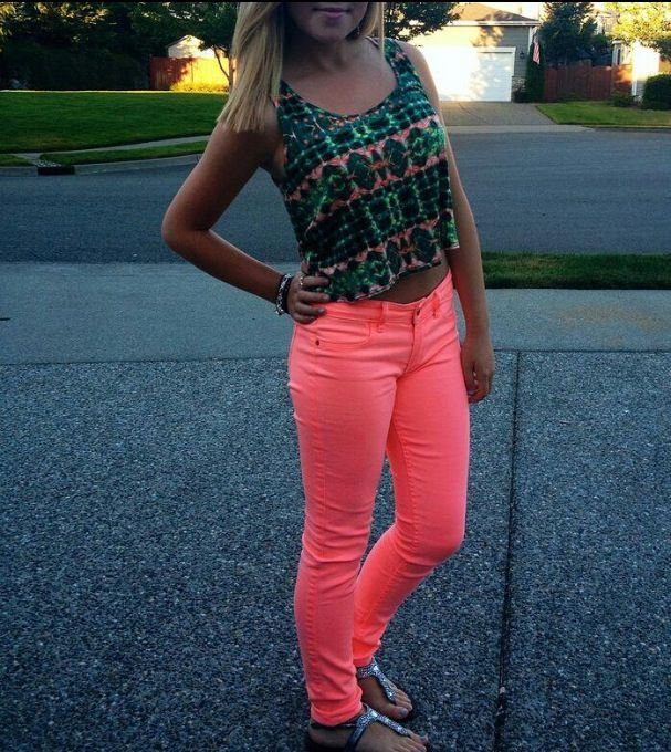 Absolutely love the neon coral jeans.