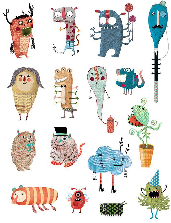 Evelyn Daviddi ha creado unos monstruos divertidísimos para jugar en las láminas que ha diseñado para APLI Kids.