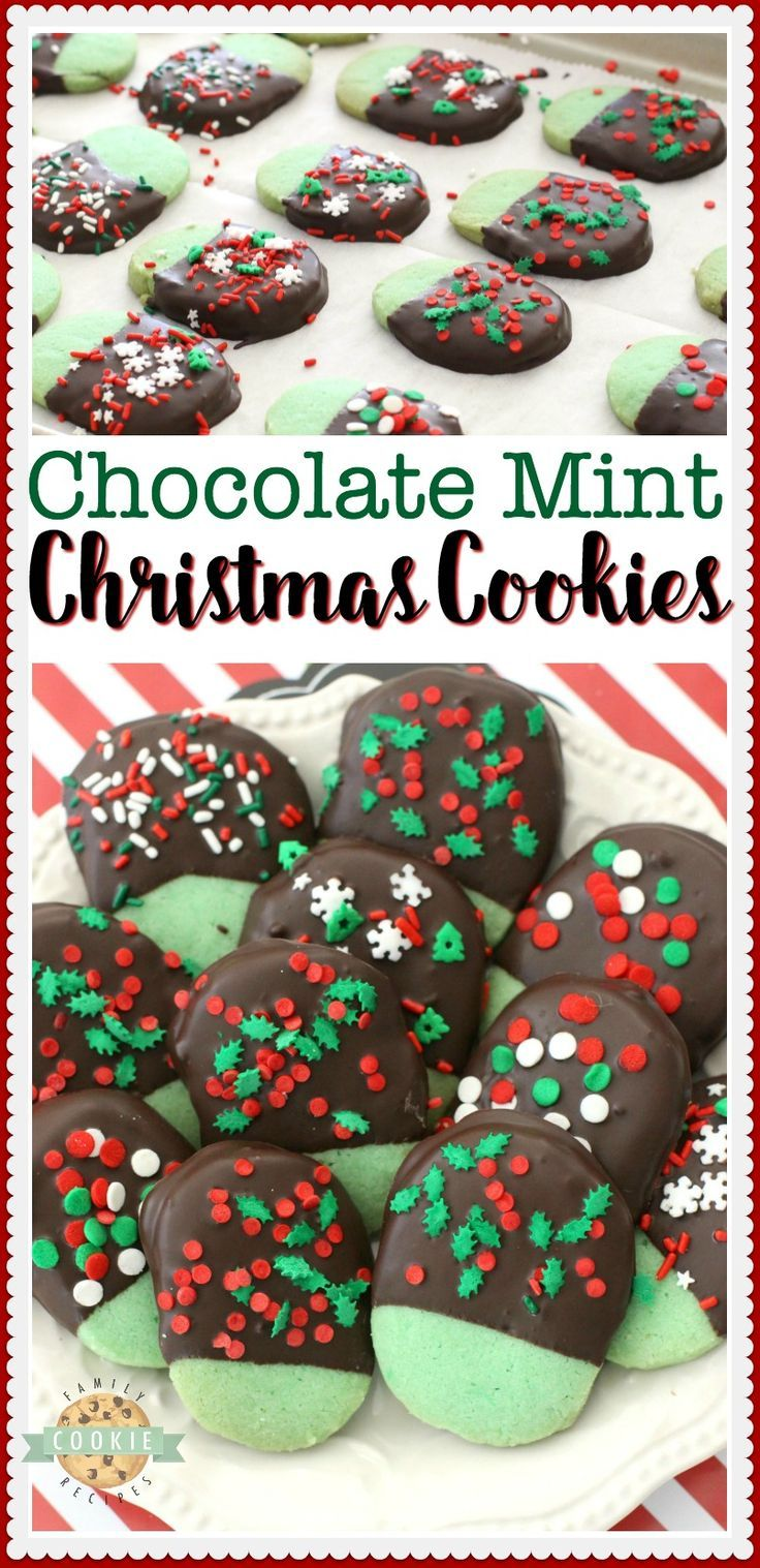 Mint Christmas Cookies Made From A Buttery Shortbread Cookie Dipped
