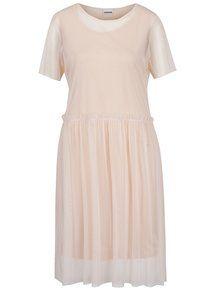 Svetloružové šaty s priesvitnými detailmi Noisy May Thea