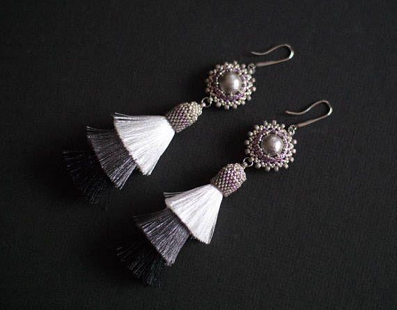 Tassel Earrings Black and White Glamour Earrings Long Black