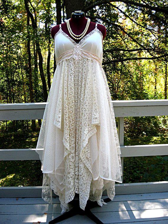 Large Size 14-16 Floor length creamy beige bohemian boho gypsy hippie wedding dress, formal dress, floor length, 39-42 inch bust