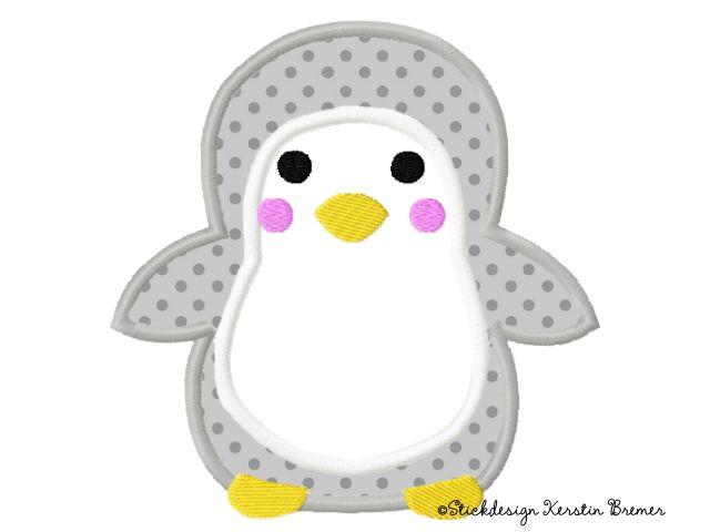 Pinguin Applikation Stickdatei von Stickdesign Kerstin Bremer. Penguin appliqué embroidery design for embroidery machines