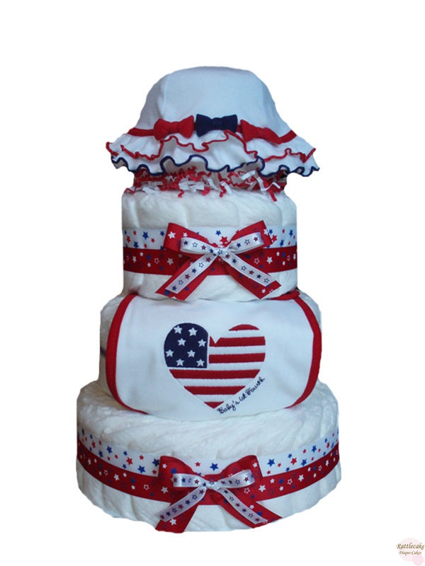 Baby S Fourth Of July Diaper Cake 4 Tier