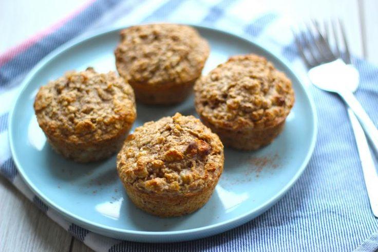 Deze gezonde muffins bevatten wat meer banaan, walnoten en kaneel. Wil je een iets zoetere muffin, voeg dan wat honing toe.