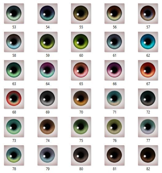 Mod The Sims - Maxis-Match eyeset add-ons II - 30 new colors (custom, gen, town)