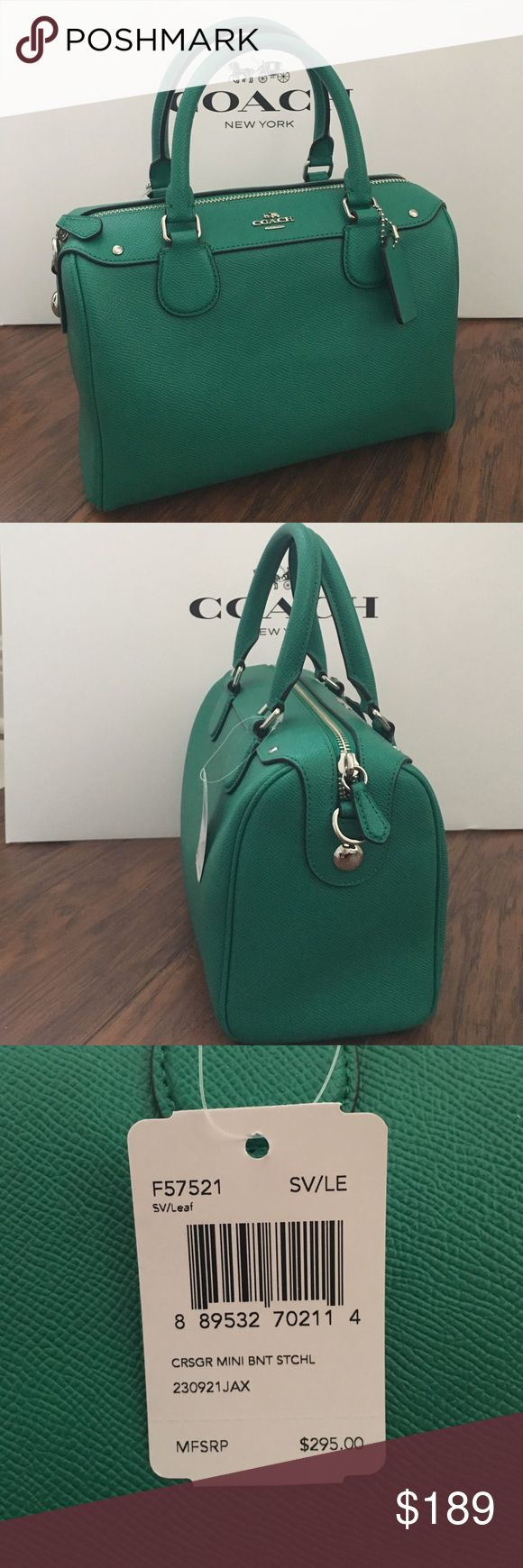 "💖WOW💖COACH Mini Bennet Crossgrain Satchel Guaranteed Authentic! New Arrival! Coach F57521 Mini Bennet Satchel in a beautiful green leaf color. Flower keychain/charm NOT INCLUDED in this listing. Inside zip, cell phone and multifunction pockets. Zip-top closure. Beautiful green fabric lining. Handles with 4"" drop. Longer strap with 23"" for shoulder or crossbody wear. Approx. measurements: 9""L x 6 1/2""H x 5""W. Bundle with flower keychain/charm for discount. Item will be videotaped prior to…"