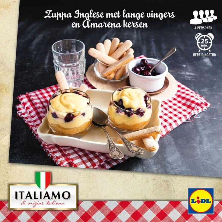 Recept voor Italiaanse Zuppa Inglese met lange vingers en Amarena kersen #Lidl #Italiamo