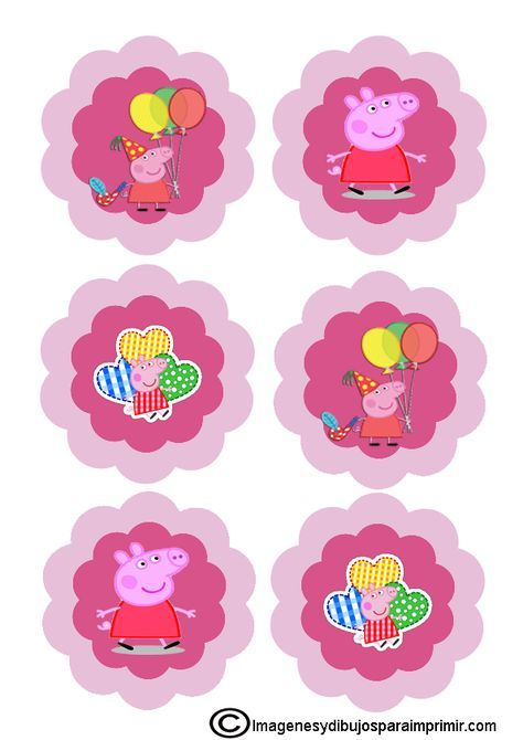 Decoracion para cupcakes de peppa pig