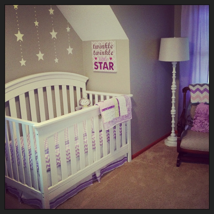 Lavender and gray star nursery for baby girl!