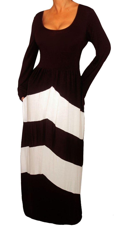 Funfash Plus Size Dress Black White Chevron Slimming Womens Plus Size Maxi Dress