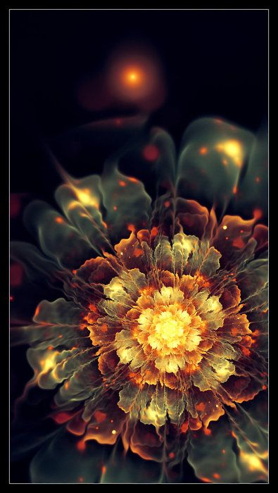 Fractal Art : 'Blooming Heat' by *lindelokse on DeviantArt http://lindelokse.deviantart.com/art/Blooming-Heat-186293913?q=boost:popular%20in:fractals%20flower&qo;=44