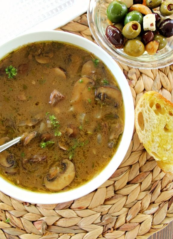 Leftover Pot Roast Soup adds fresh herbs and meaty mushrooms for a rich, brothy soup that is comfort food at it's best! And it could not be easier.