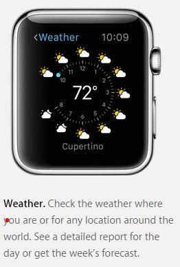 Apple Watch view: weather app