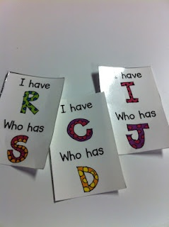 "ELD, letter recognition    ""I have...who has""  letter matching game. I've done this before in a kindergarten class. Works great with numbers too!"