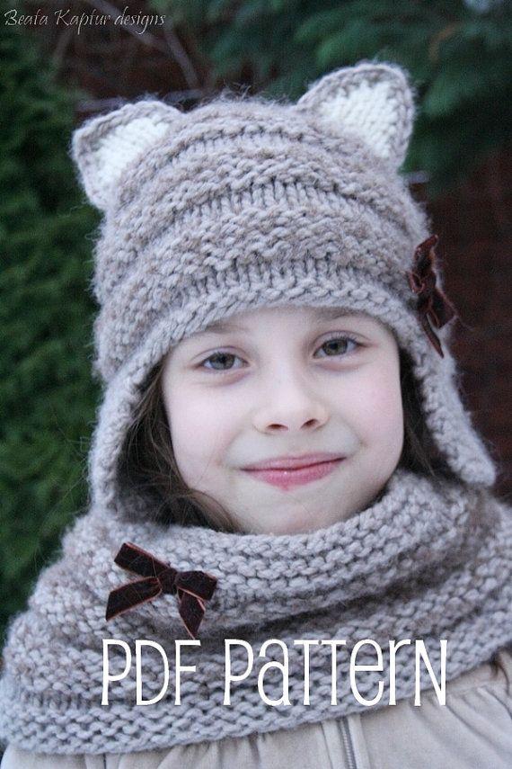 Format pdf de Mia Kitty Earflap Hat - Knitting pattern - enfant en bas âge, enfant et adulte tailles - / eBook