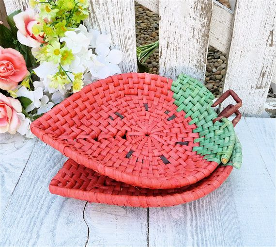 Wicker Strawberry Plates 2 Woven Plates or by HuckleberryVntg, $18.00