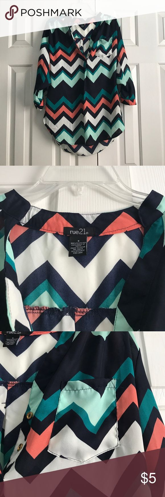 """[rue21] chevron blouse ONLY WORN ONCE  🍂FALL TREND🍂 Rue21 """"tunic"""" type blouse (the back covers your butt). The only flaw is there are loose threads in a few places. Other than that, the shirt is in perfect condition. 100% polyester. If you have any questions please comment below! Rue21 Tops Blouses"""