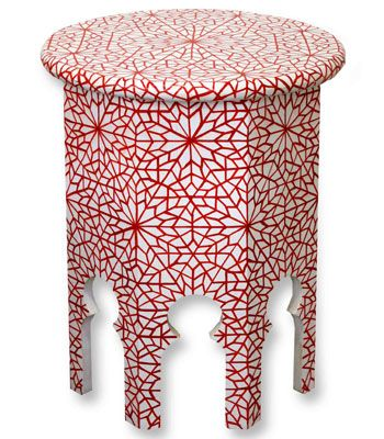 10 Slimani hand-painted timber side table in Red, from $390, Eco Chic  <3 <3 <3
