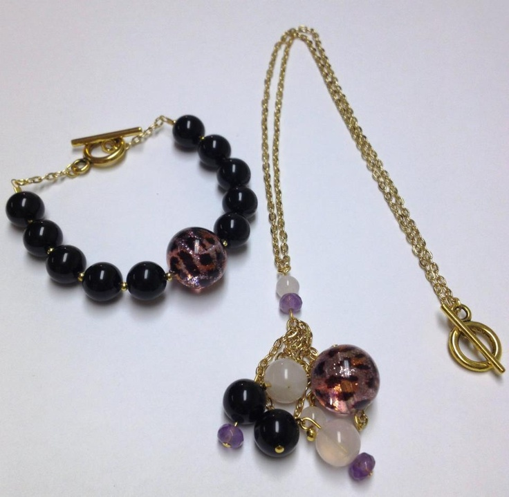 """Qittah"" and ""Qittah Cluster Collana""  Pink Leopard Transparent Sparkle Murano Glass Bead  Onyx  Rose Quartz  Amethyst Stones  18kt Gold Plated Chain  $85.00/set"