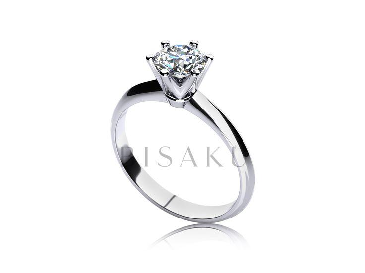 C17 Úchvatný zásnubní prstýnek, který na první pohed zaujme zpracováním korunky - šest velmi elegantně tvarovaných krapen, vyzdvihuje kámen do patřičné výšky tak, aby byla na první pohled znát jeho symbolika. Tento prstýnek lze snadno kombinovat s jednoduchým snubním prstenem. #bisaku #wedding #rings #engagement #svatba #zasnubni #prsteny