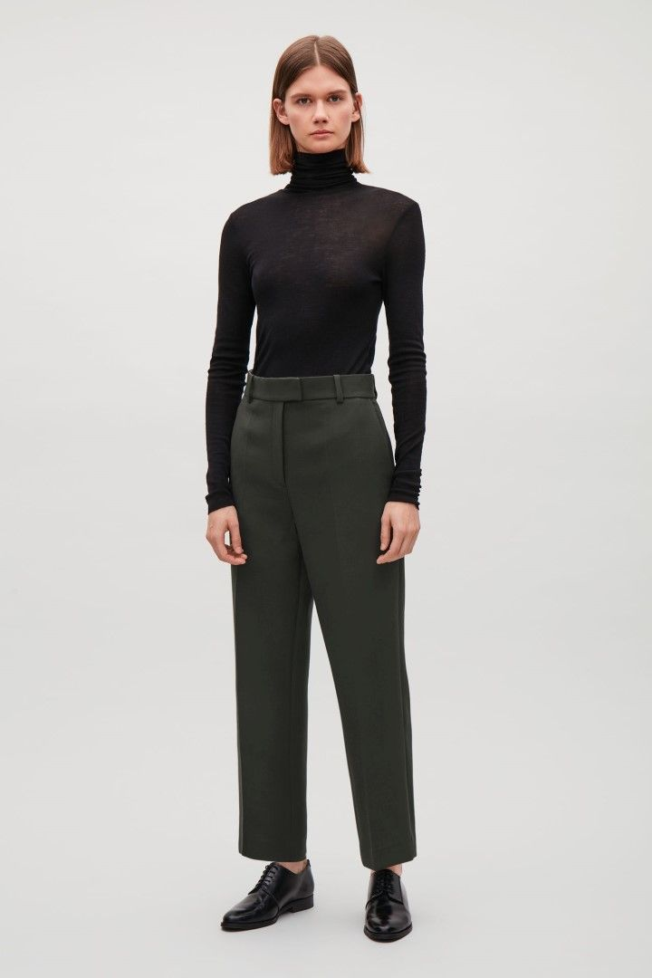 COS image 1 of Cropped flare-leg trousers  in Khaki Green