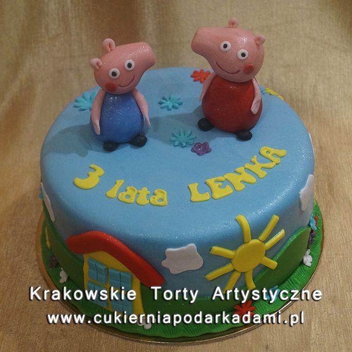 123. Niebieski tort ze świnką Peppą i jej bartem George. Peppa and George cake.