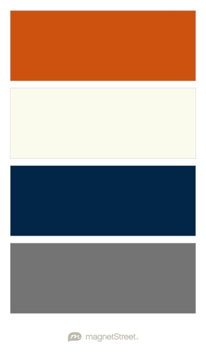 Pumpkin, Ivory, Navy, And Charcoal Wedding Color Palette   Boys Room