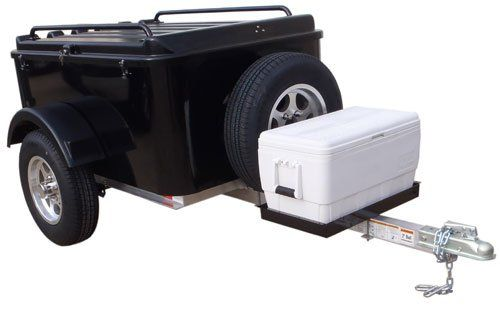 Amazon.com: Hybrid Trailer Co. Vacationer with Spare Tire and Cooler Tray - Enclosed Cargo Trailer, 990 lbs. Gross, 30 cu/ft. - Biker Black: Automotive