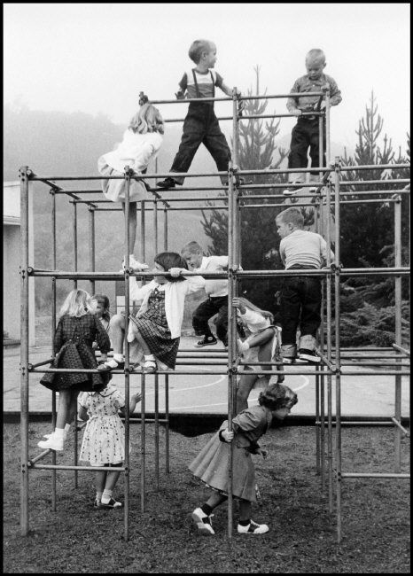 The Local Playground: On the playground jungle-gym in 1956. Every neighborhood…