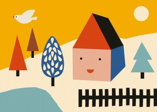 <p>Deze illustratie huis laat zien wat Anna Kövecses zo bijzonder maakt, het unieke kleur gebruik en de hoekigere vormen .<br />De poster heeft een A3 formaat, off set gedrukt met matte inkt.</p>
