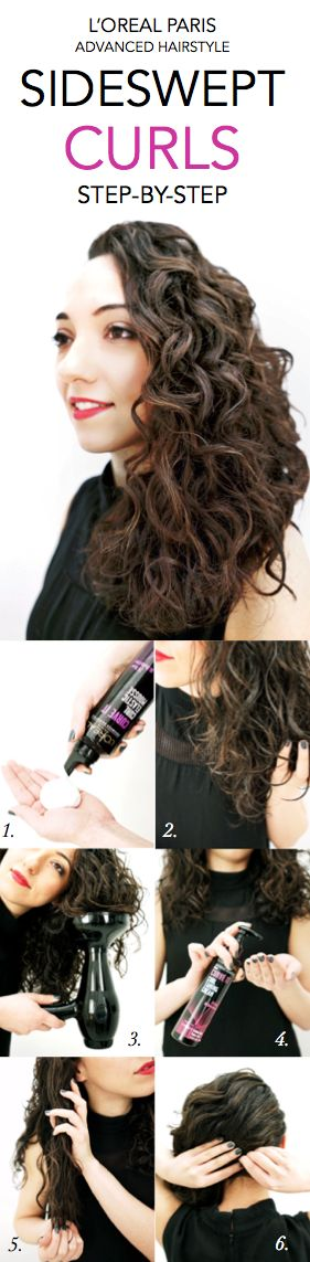 How to get glamorous Sideswept Curls: 1. Apply Curve It Elastic Mousse to damp hair from roots to ends. 2. Dy hair with diffuser, using fingers to scrunch hair as you dry. 3. Pump 1-2 pumps of Curve It Curl Taming Cream into hands and loosely rake fingers though curls. 4. Twist right side of hair bobby pin to left side of neck.