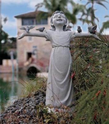 Little Bird Lover Girl Garden Sculpture Patio Statue