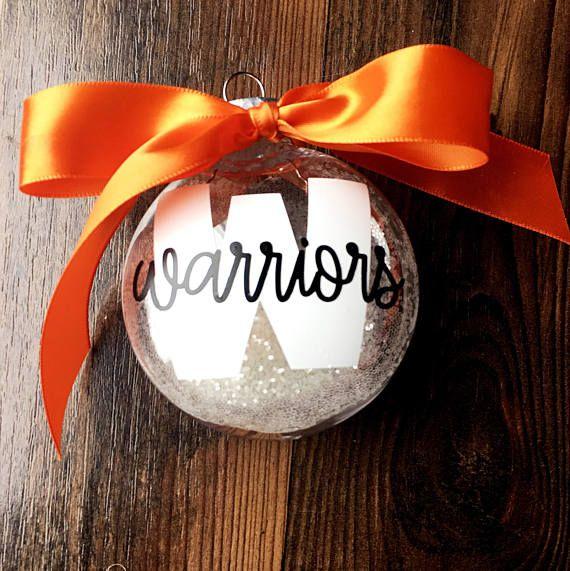 $10. Personalized School Ornament. Sports. Teams. Football. Cheerleading. Coaches. Teachers. High school. College. Christmas ornaments. Gift idea #cheerleading #ad