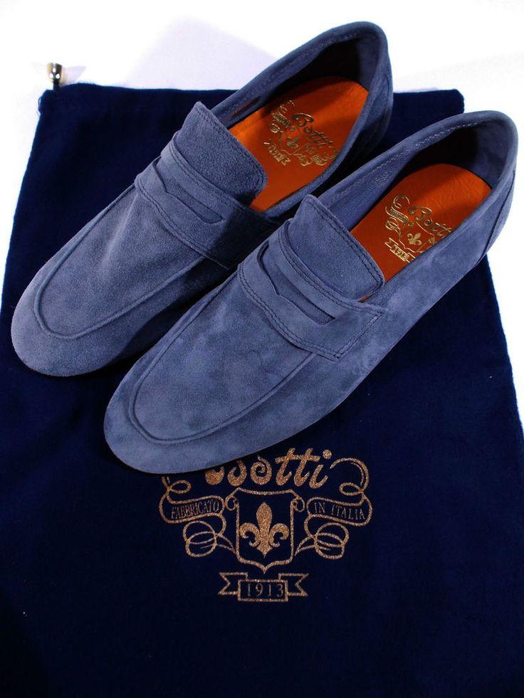 BOTTI mocassino scarpa uomo PELLE capretto SCAMOSCIATO sfoderato 7-7½-9(UK) NIB