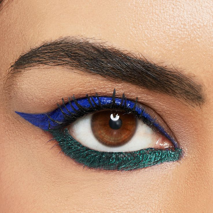 Get creative with your cat eye for the 4th of July weekend by incorporating the colors of the flag in your eye makeup look. Apply Maybelline Lasting Drama Gel Pencil in 'Lustrous Sapphire' along the upper lash line, extending into a wing. Use the 'Glossy Emerald' shade along the lower lash line to create a colorful cat eye. Jewel tones make brown eyes sparkle so consider this the perfect makeup for brown eyed girls.
