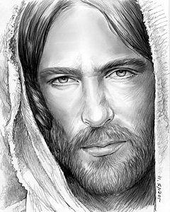 Drawing - Jesus Face by Greg Joens