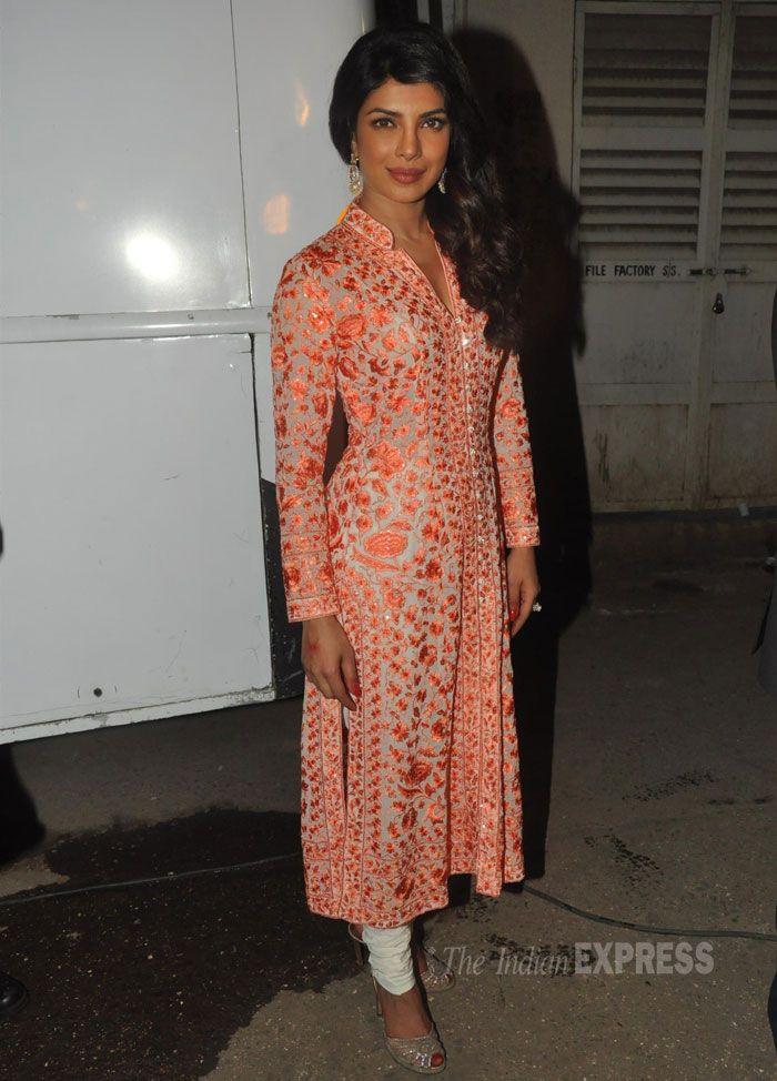 Priyanka Chopra in an orange and white churidar suit promoting upcoming film Zanzeer (IE Photo: Varinder Chawla)
