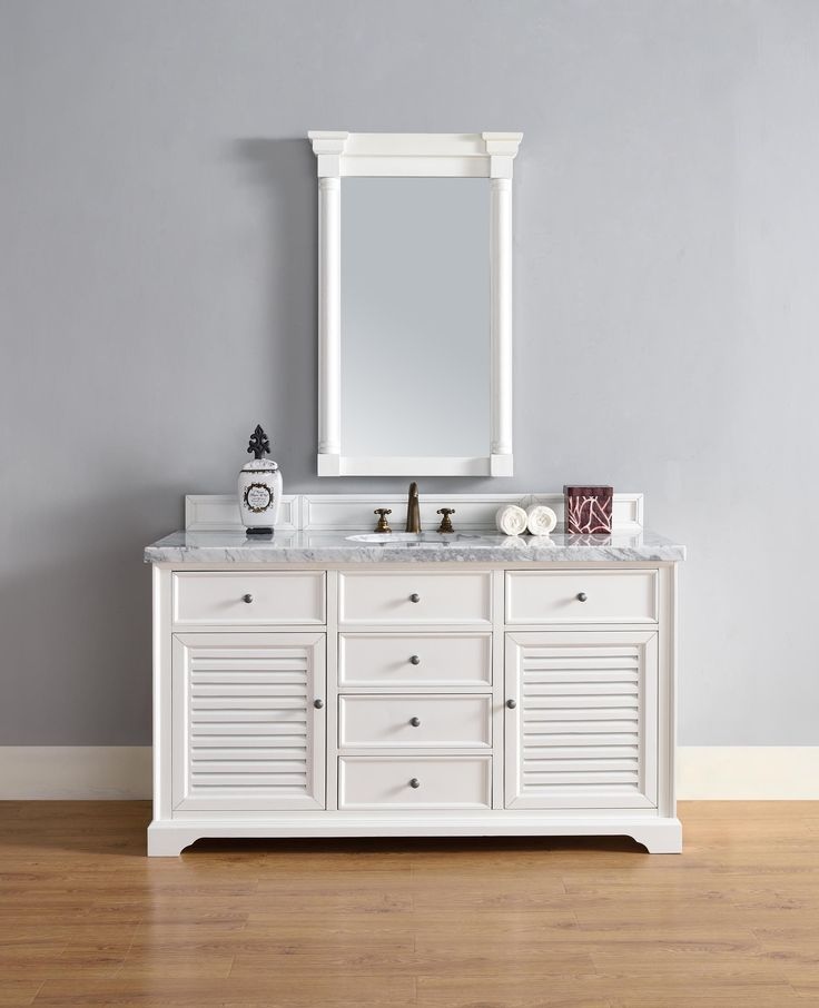 Web Image Gallery Savannah Single Sink Bathroom Vanity Cabinet Cottage White Finish Carrara White Marble