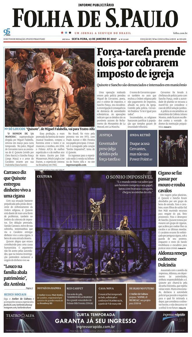 Duque acusa Cervantes mas nao usa PowerPoint  Dom Quixote na capa da Folha #timbeta #sdv #betaajudabeta
