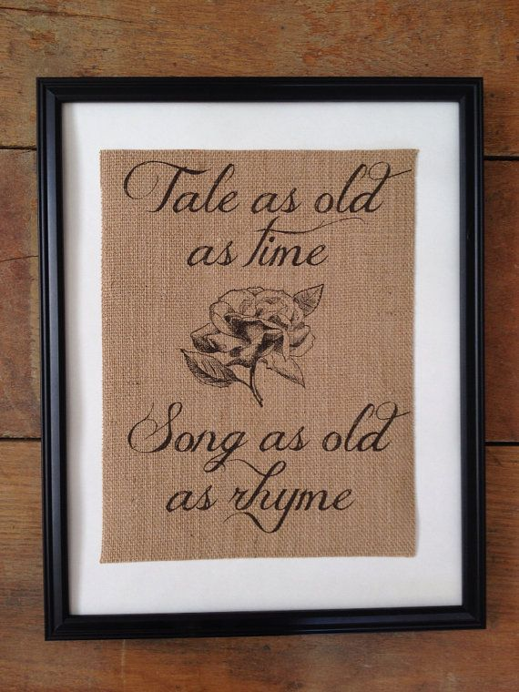 Rustic burlap art Tale as Old as Time Beauty and the Beast Fairy tale ARTWORK ONLY